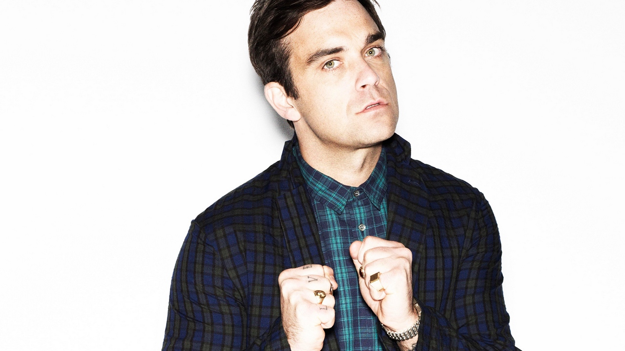 Preview wallpaper face, fists, look, robbie williams, shirt