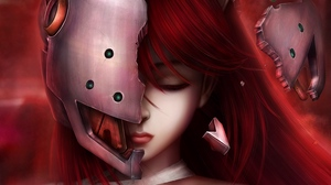 Preview wallpaper anime, art, elfen lied, face, girl, hair, lucy