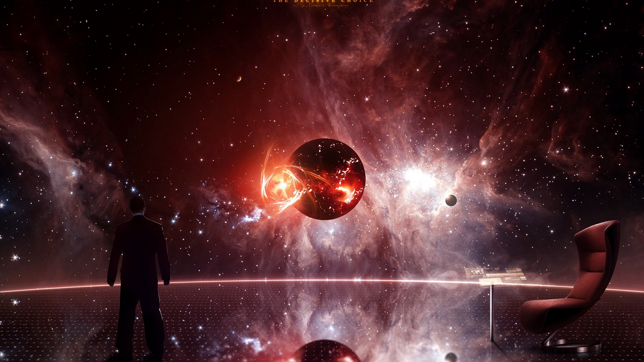 Preview wallpaper chair, illusive man, mass effect, planet, space