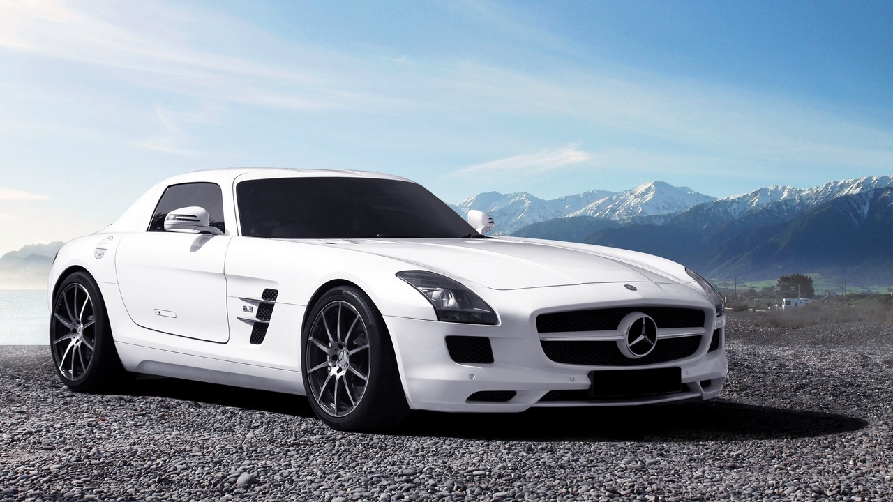 Preview wallpaper mercedes, mercedes sls amg, side view, white