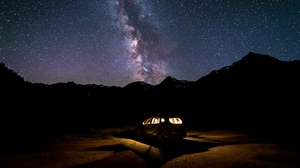 Preview wallpaper car, milky way, night, starry sky