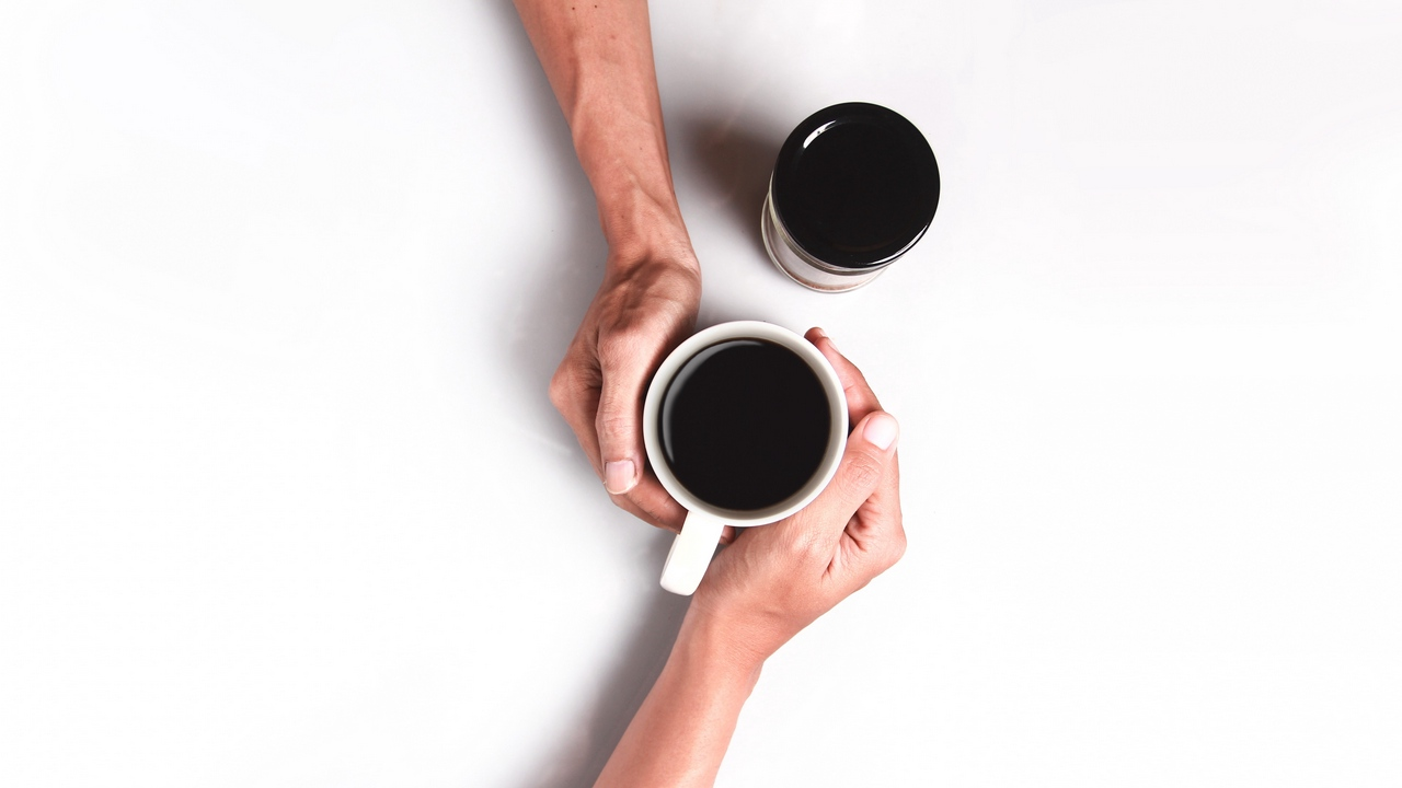 Preview wallpaper coffee, couple, cup, hands, minimalism