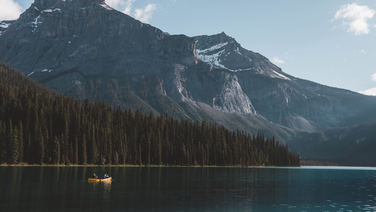 Preview wallpaper boat, forest, lake, mountains, nature