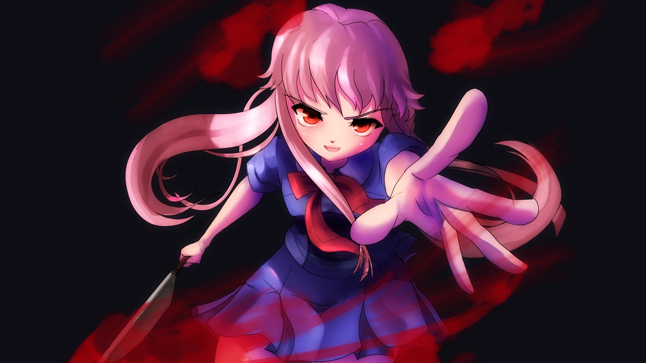 Preview wallpaper anger, blood, girl, knife, movement