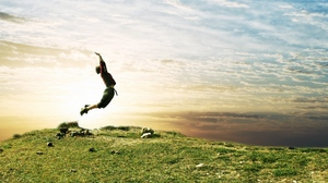 Preview wallpaper field, grass, jump, nature, people, sky