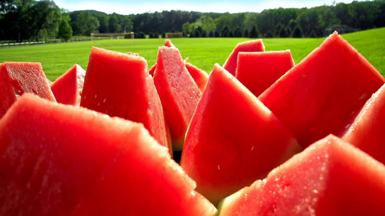 Preview wallpaper juicy, nature, portions, ripe, slices, water-melon