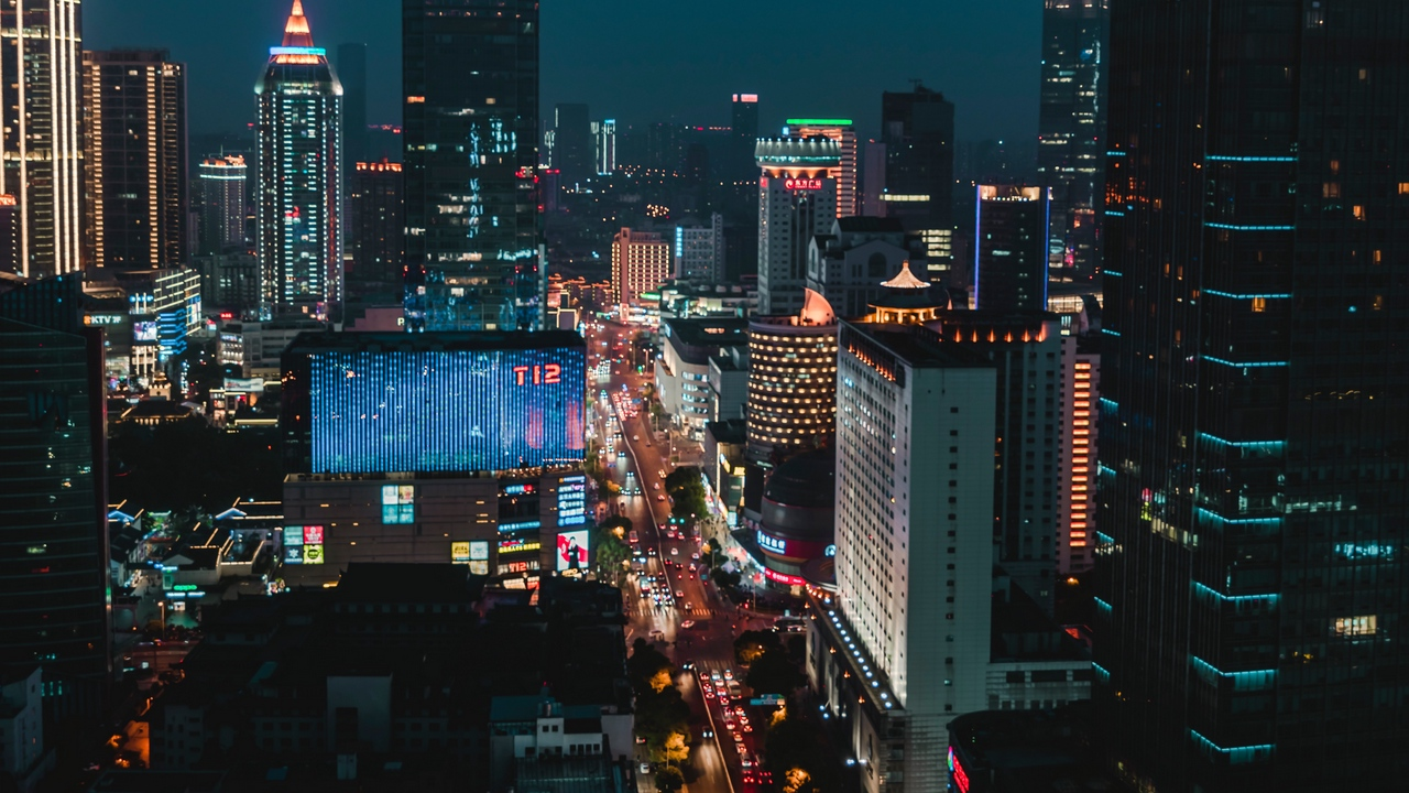 night city overview buildings architecture street aerial view height
