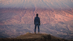 Preview wallpaper height, loneliness, man, mountain, peak
