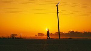 Preview wallpaper pole, silhouette, sunset, walk, wires