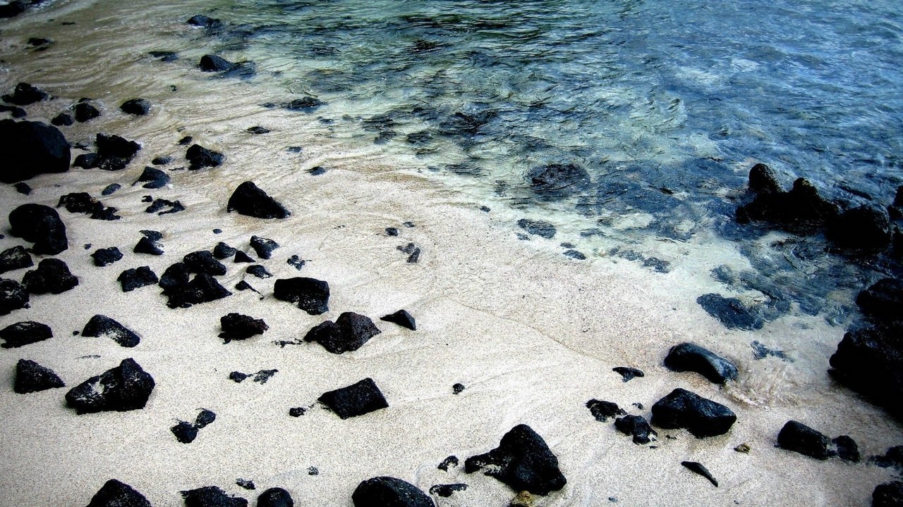 Preview wallpaper black, protected, sand, stones, water