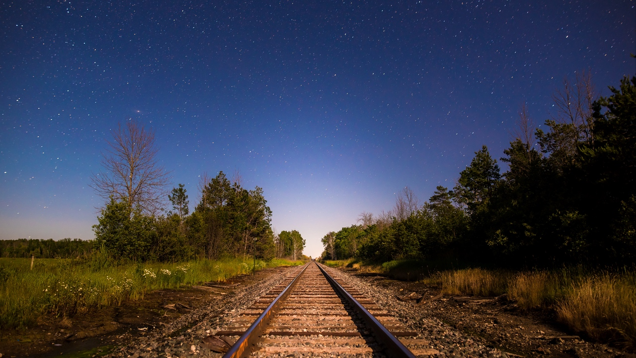 Preview wallpaper direction, railway, starry sky, trees