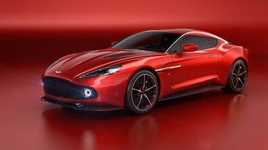 Preview wallpaper aston martin, red, side view, vanquish