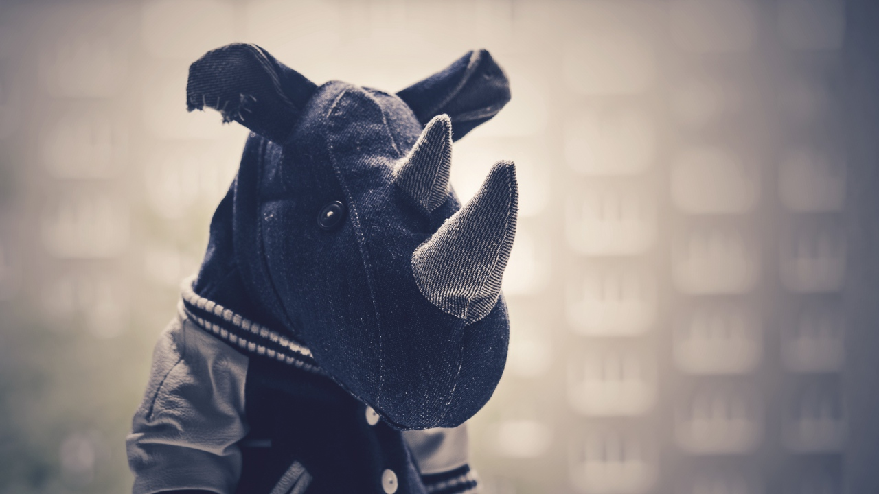 Preview wallpaper bw, cloth, rhinoceros, toy