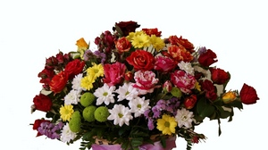Preview wallpaper basket, chrysanthemums, composition, flowers, ribbon, roses, variety