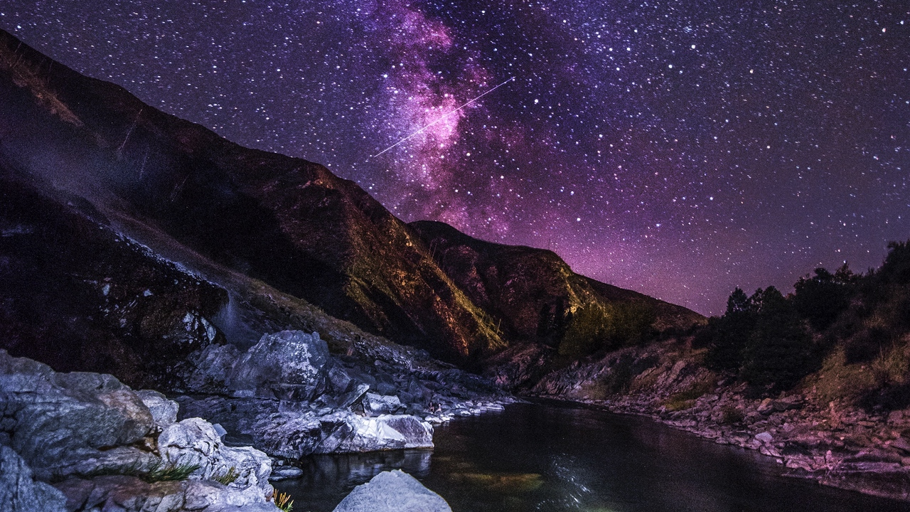Preview wallpaper landscape, mountains, night, river, starry sky