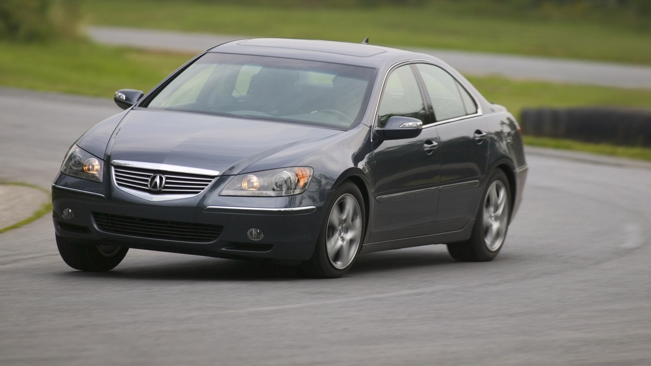 Preview wallpaper acura, asphalt, black, cars, front view, movement, rl, rotation, speed, style