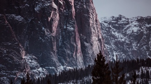 Preview wallpaper landscape, mountains, rocks, snowy, trees