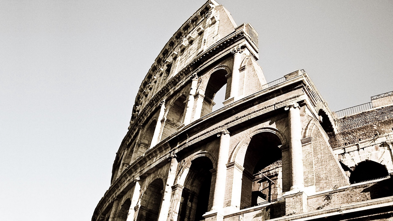 Preview wallpaper black white, colosseum, italy, old, rome