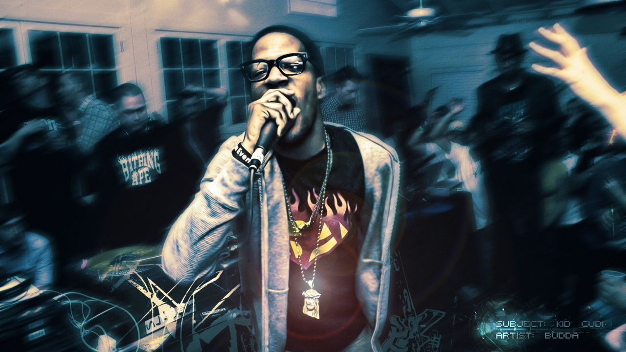 Preview wallpaper disco, kid cudi, microphone, party, room