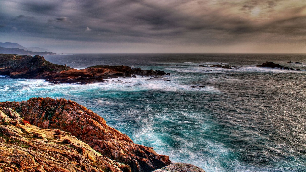 Preview wallpaper before a storm, clouds, excitement, rocks, sea, storm