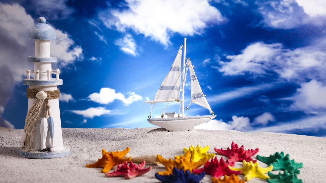 Preview wallpaper clouds, layout, lighthouse, sand, sea stars, ship, sky