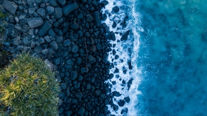 Preview wallpaper ocean, rocks, shore, surf, view from above