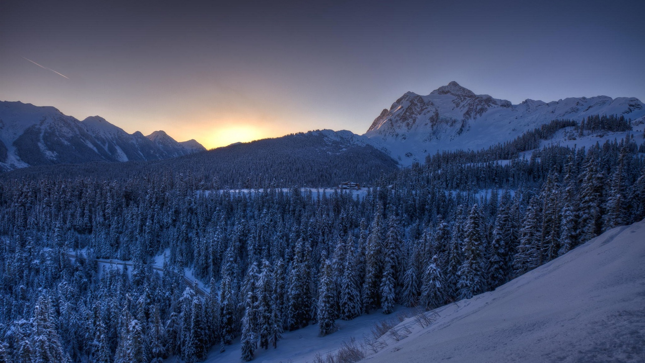 Preview wallpaper mountains, snow, trees, winter