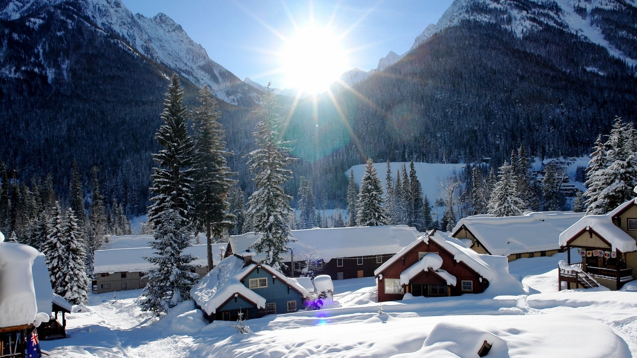 Preview wallpaper beautiful, houses, mountains, snow, winter