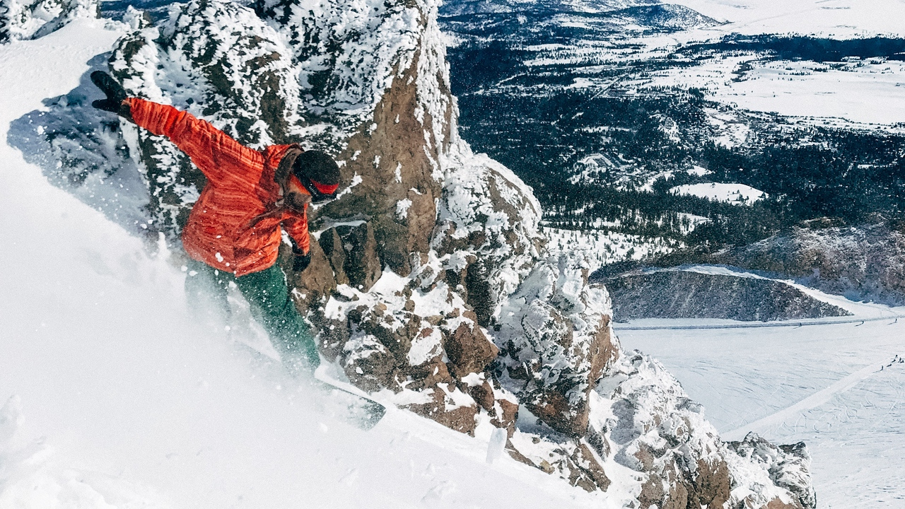 Preview wallpaper board, downhill, extreme, mountains, slope, snow, snowboard, snowboarder, winter sport