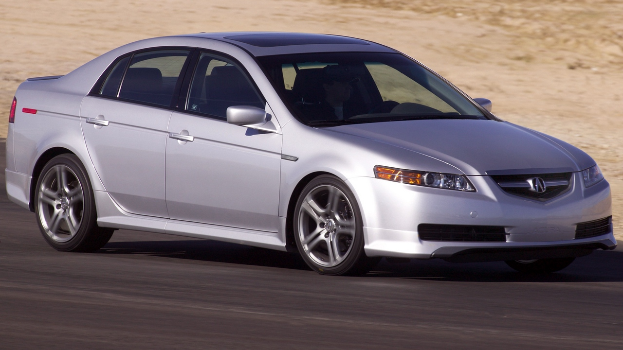Preview wallpaper 2004, acura, cars, sand, side view, silver metallic, speed, style, tl