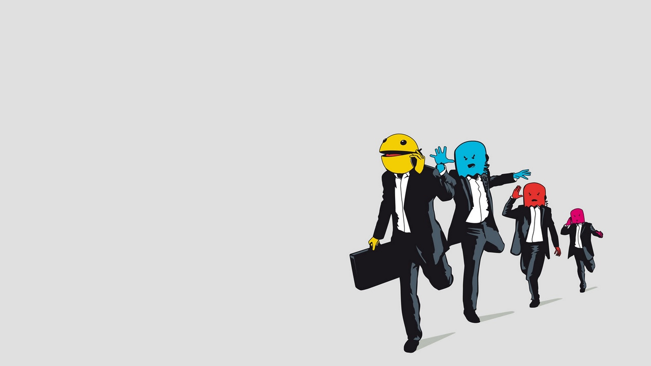 Preview wallpaper jogging, monsters, pac-man, suits, vector
