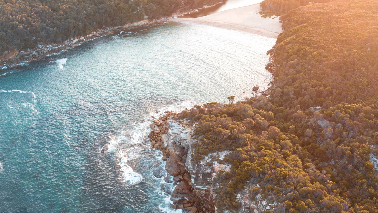 Preview wallpaper aerial view, bay, sea, sunlight, trees