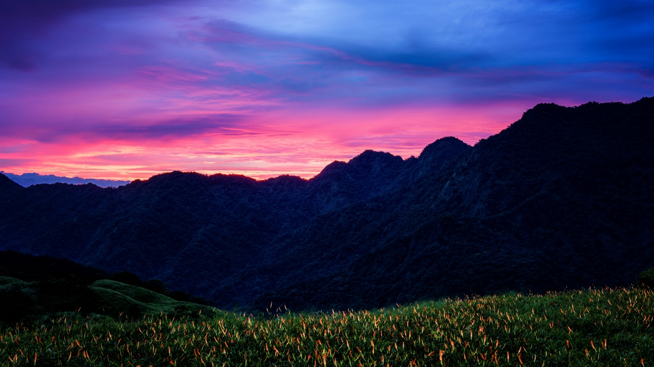 Preview wallpaper clouds, flowers, mountains, sunset, taiwan