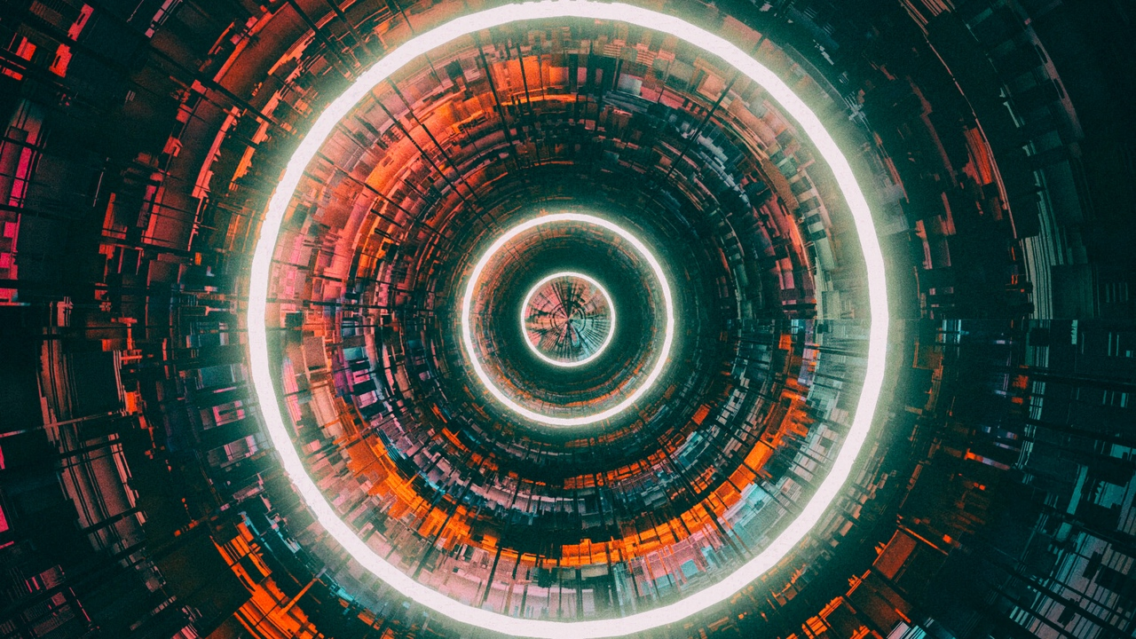 Preview wallpaper bright, circles, glow, neon, tunnel