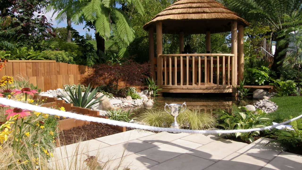 Preview wallpaper arbor, cup, flowers, garden, lake, palm trees, path, shadow, tile, vegetation