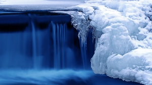 Preview wallpaper nature, river, waterfall, winter