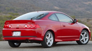 Preview wallpaper 2006, acura, asphalt, cars, mountains, nature, red, rsx, side view, style