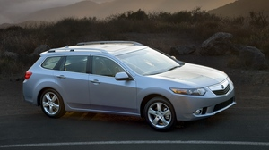 Preview wallpaper 2010, acura, blue metallic, cars, mountains, nature, rays sun, style, top view, tsx