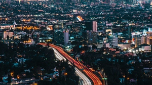 Preview wallpaper aerial view, buildings, city, cityscape, night city