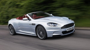 Preview wallpaper 2009, aston martin, cars, dbs, side view, trees, white