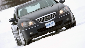 Preview wallpaper acura, black, car, front view, rl, snow, style, trees
