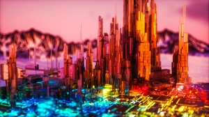Preview wallpaper 3d, backlight, bright, colorful, structure