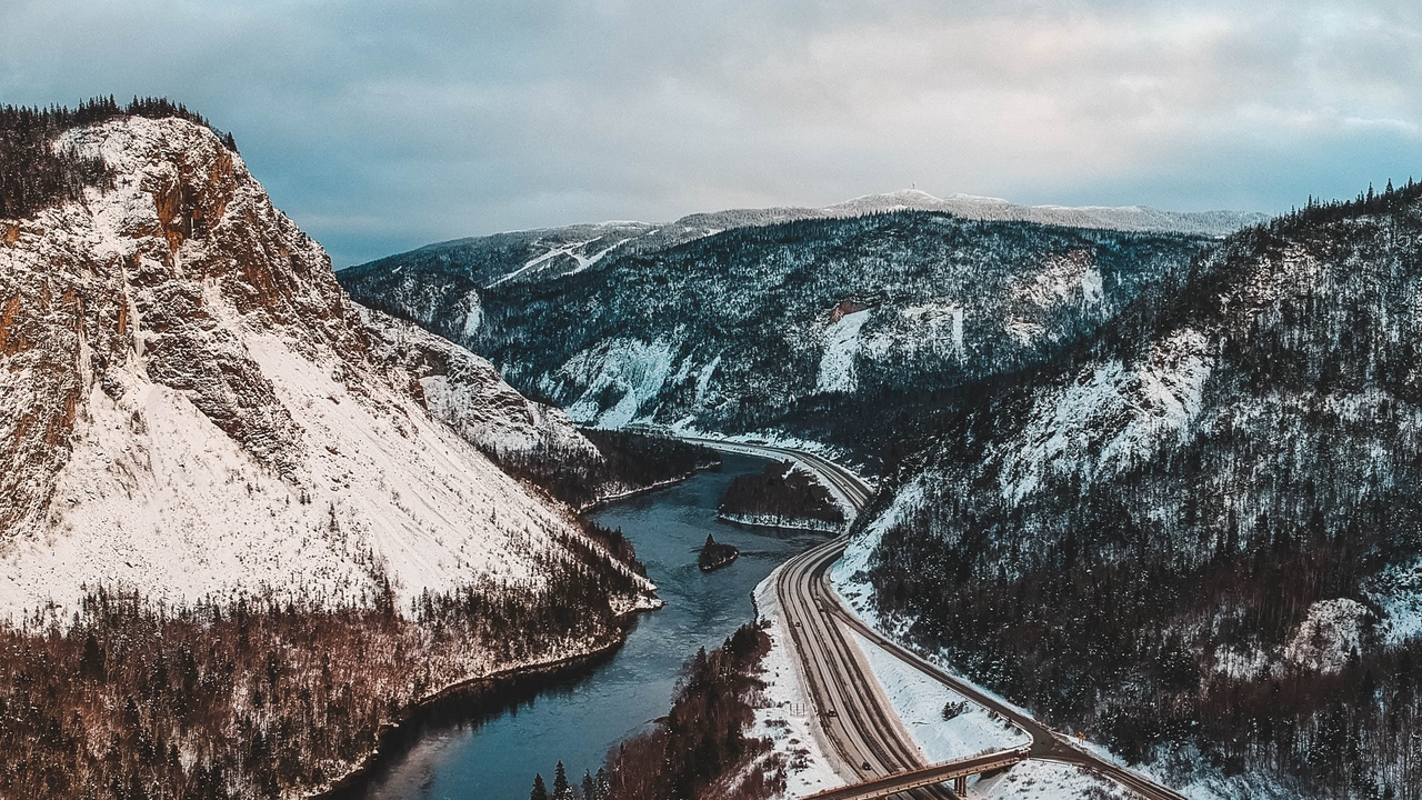 canada mountains river landscape aerial view