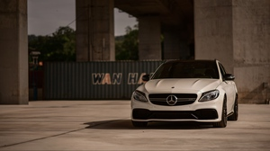 Preview wallpaper car, front view, mercedes, mercedes-amg c 63, white
