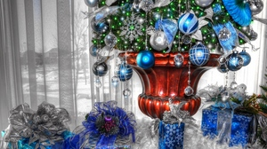 Preview wallpaper christmas tree, christmas tree decorations, gifts, holiday, vase