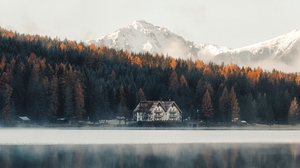 Preview wallpaper coast, forest, house, lake, mountains, nature