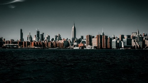 Preview wallpaper buildings, city, cityscape, coast, water, waves