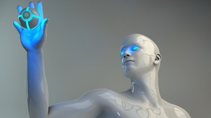 Preview wallpaper color, mannequin, neon, robot, touch