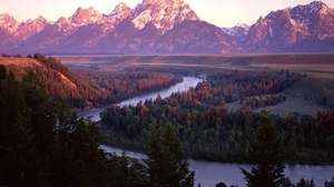 Preview wallpaper bends, coniferous, mountains, river, trees