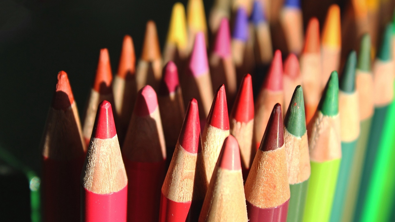 crayons colorful chiseled